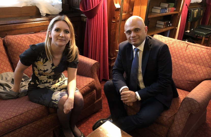 Julia Lopez MP with Chancellor of the Exchequer, The Rt Hon Sajid Javid MP