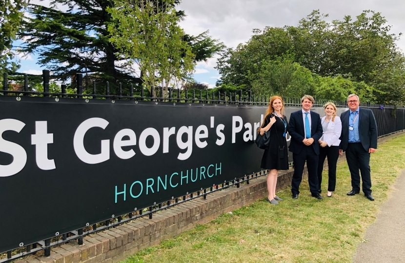 Julia Lopez MP at the future St. George's Health Centre site with Chris Skidmore MP and the project team